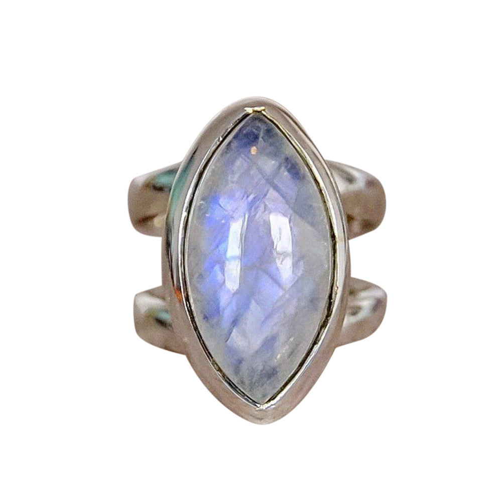 1PC Boho Jewelry Silver Natural Gemstone Marquise White Opal Personalized Ring
