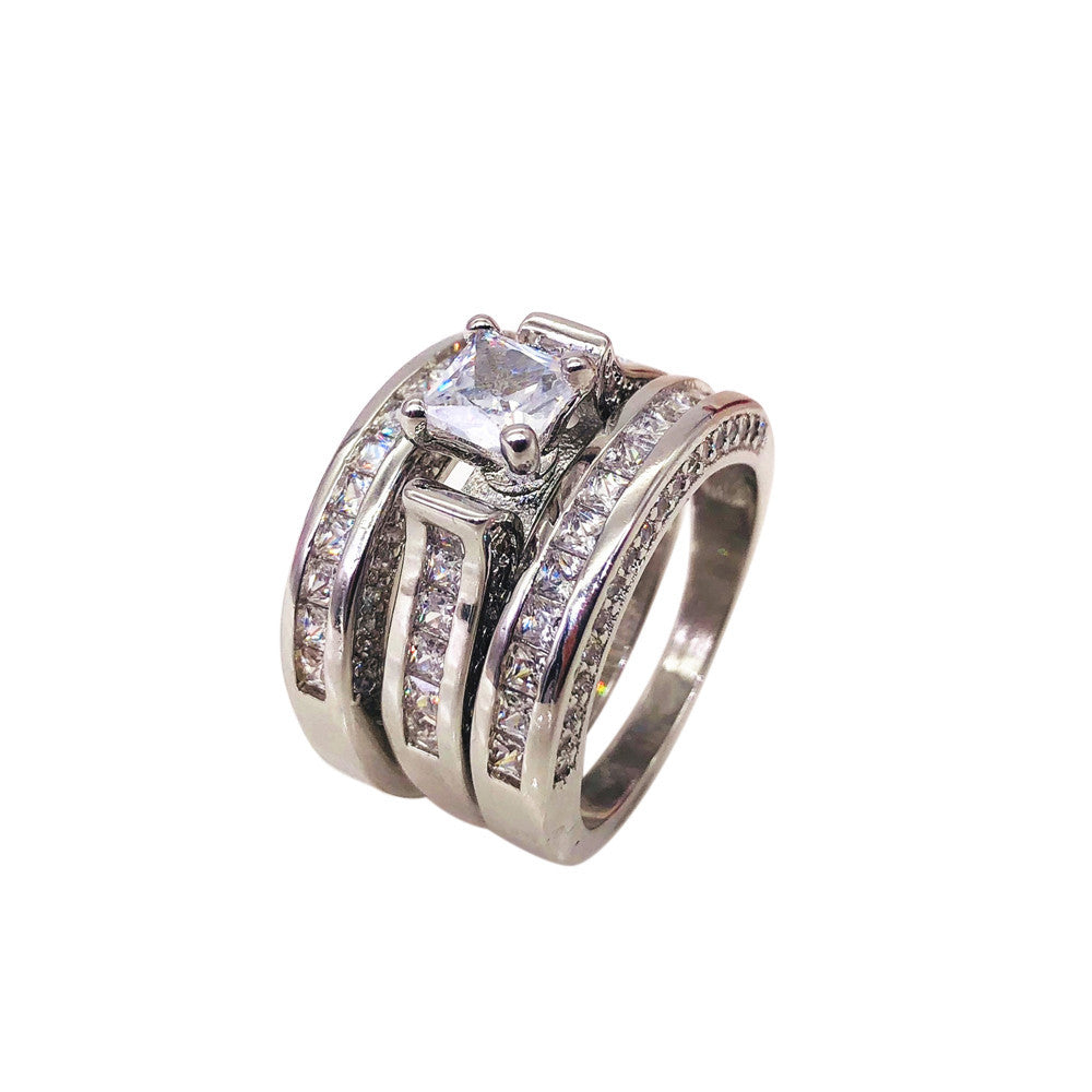 3-in-1 Womens Vintage White Diamond Silver Engagement Wedding Band Ring Set
