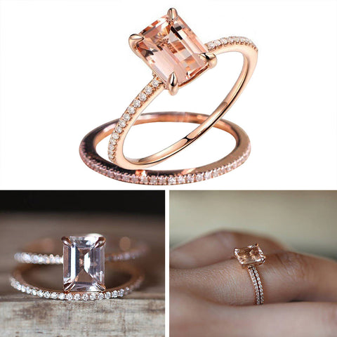 2pcs Rings Set European American 18K Plated Rose Gold Diamond Zircon Encrusted Engagement Rings