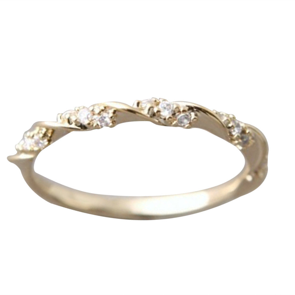 Crystal Twisted Band Solid 14K Yellow Gold Wedding Anniversary Ring for Women Fine Jewelry - Size 8