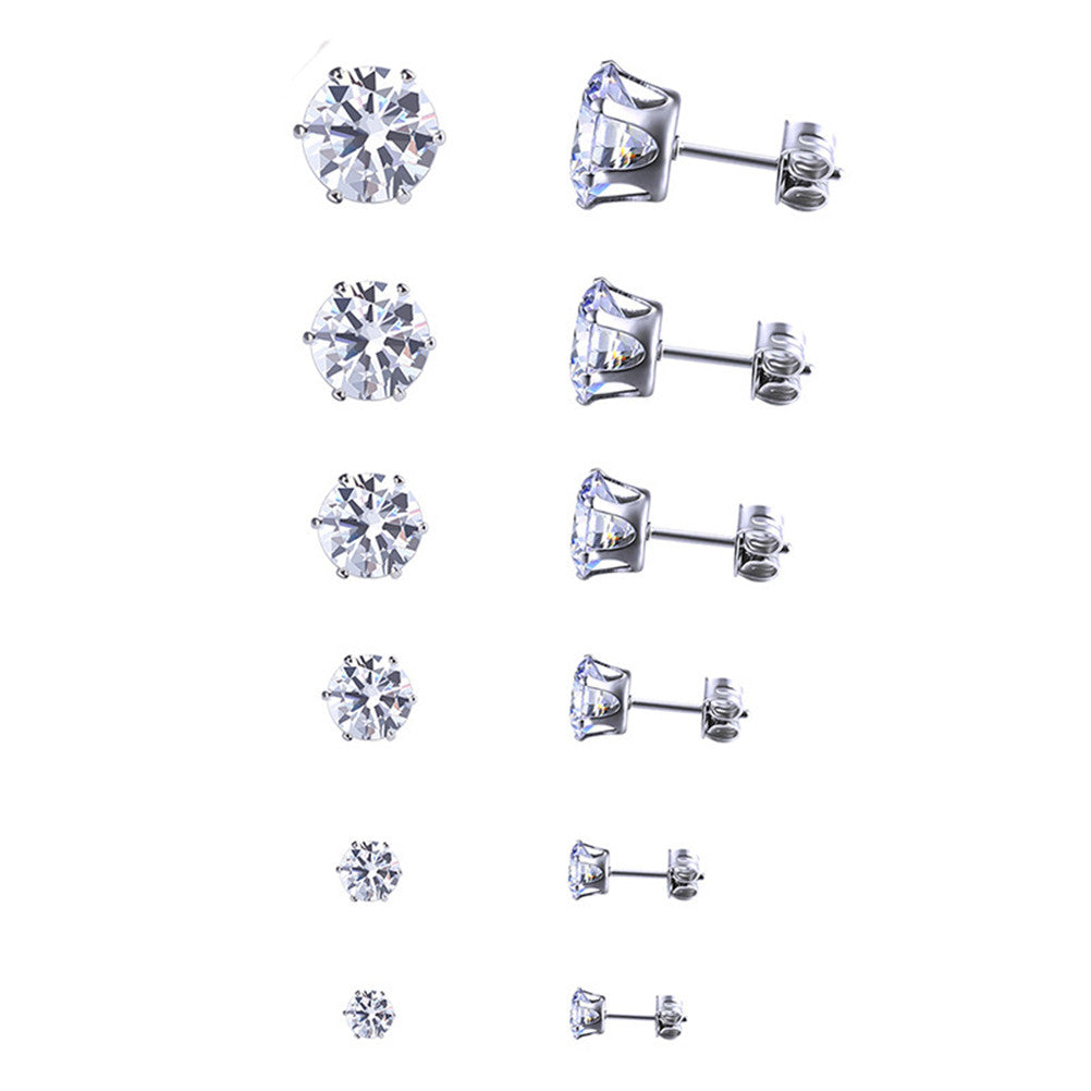 6pcs Heart and Arrow Zircon Earrings Fashion Jewelry Set With Ear Stud (3MM+4MM+5MM+6MM+7MM+8MM)