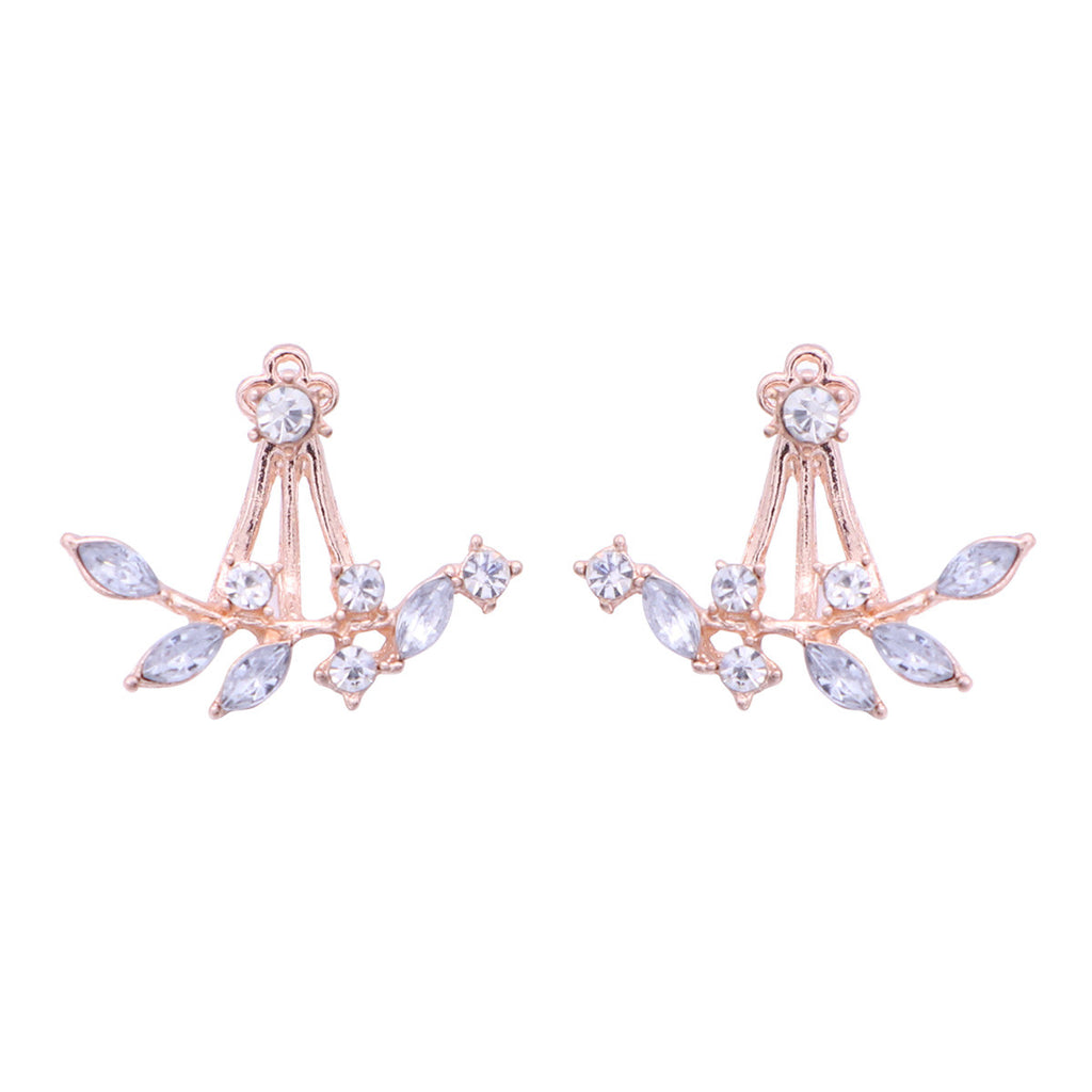 1 Pair Fashion Leaves Earrings Simple Chic Crystal Rhinestones Stud Earrings Double Sided Earrings Women Jewellery Gift