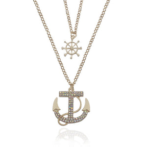 Fashion Multilayer Long Pendant Necklace Vintage Ethnic Boat Anchor Sweater Chain Necklace Jewelry