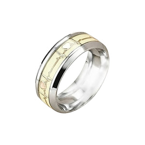 Men Women Titanium Steel Ring Promise Rings ECG Carved Heart High Polished Finish Band