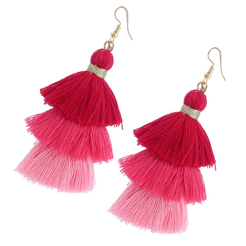 Drop Dangle Tassel Earrings Bohemia Style Tiered Thread Earrings for Women Girls