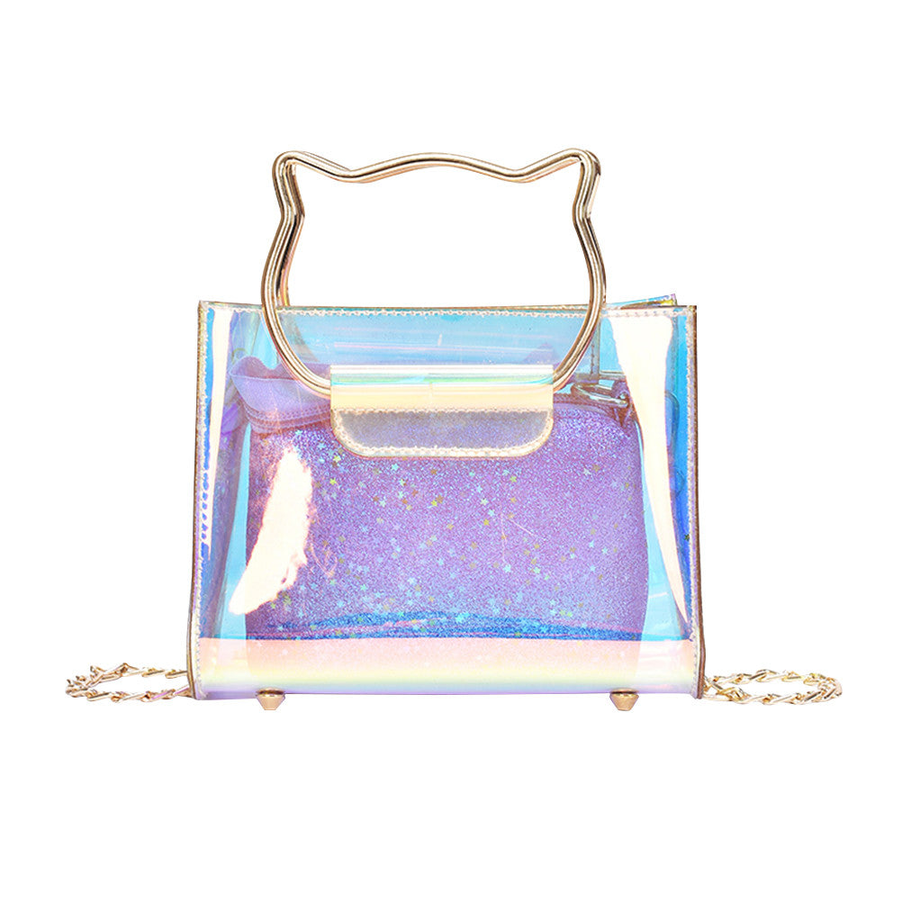 Transparent Chic Chain Crossbody Bag Shiny Clear Handbag Shoulder Bag for Women Ladies (Colorful Pattern 2)