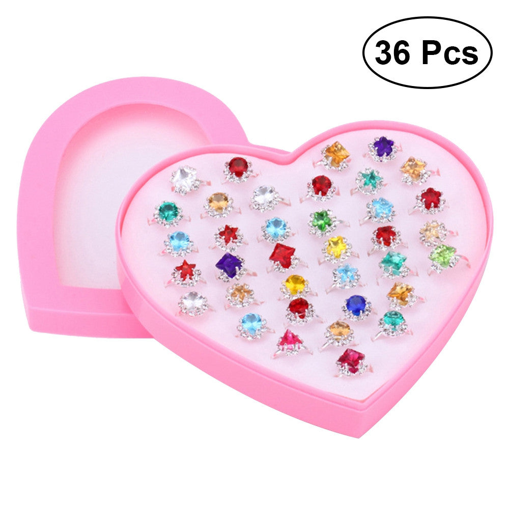 36pcs Crystal Children Cute Rings Sparkle with Heart Shape Display Case for Kids Birthday Party Favors