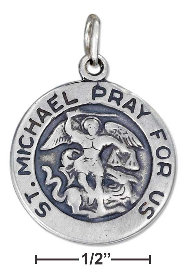 Sterling Silver Antiqued St Michael Medallion Charm