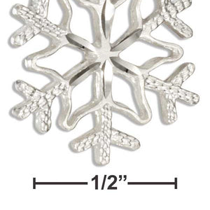 Sterling Silver Diamond Cut 6 Point Snowflake Pendant