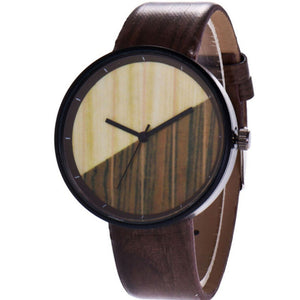 Wood Grain Creative Young Men And Women Half Color Quartz Lovers Watch Men Women