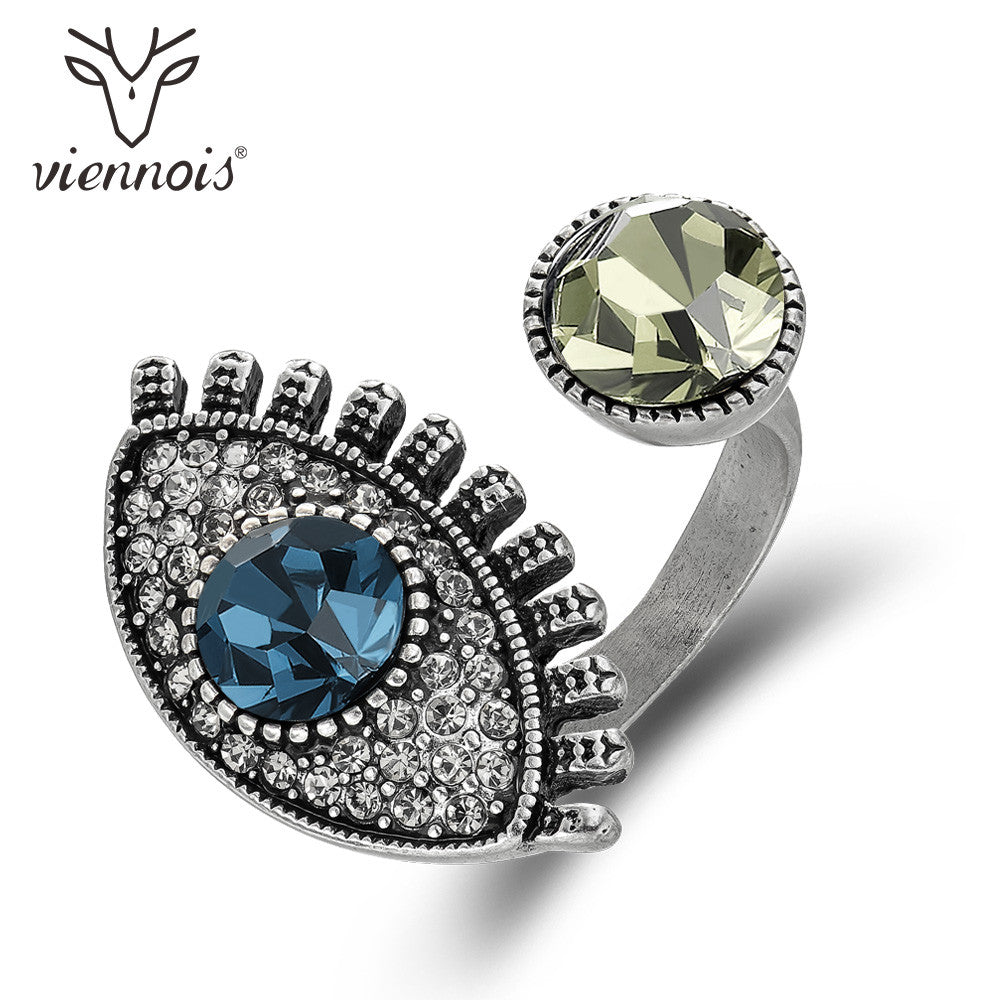 Viennois Vintage Silver Color Resizable Finger Ring For Women Crystal Party Engagement Retro Female Ring Fashion Jewelry