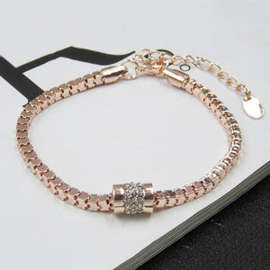 Rhinestone Rose Gold Plated Crystal chain Bracelet Bangle hand chain