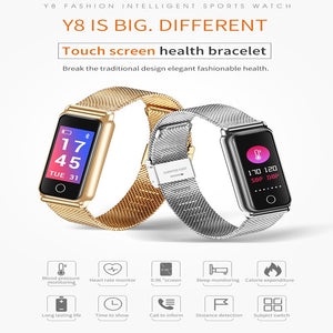Y8 Steel Smart Watch Women Men  Bracelet Blood Pressure Heart Rate Monitor Bluetooth Smart Wristband Activity Tracker Waterproof Sleep Monitoring Alarm clock for Android IOS