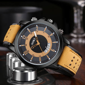 Luxury Fashion Silica Gel Leather Mens Glass Quartz Analog Date Watches