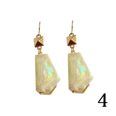 1 Pair Colored Resin Earrings  Multicolor Shell Effect Alloy Earrings