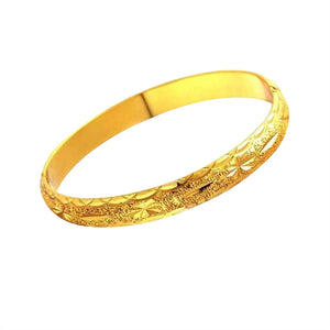3pcs Women's Girls Gold Plated Carved Bracelet Cuff Bangle (Golden)