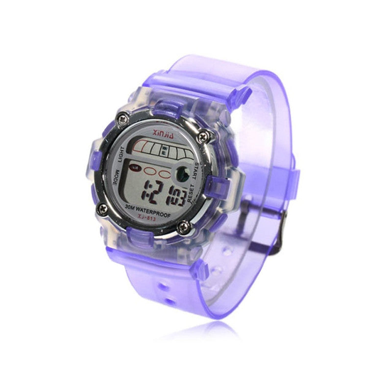30M Waterproof LED Light Sports Watch (Purple)