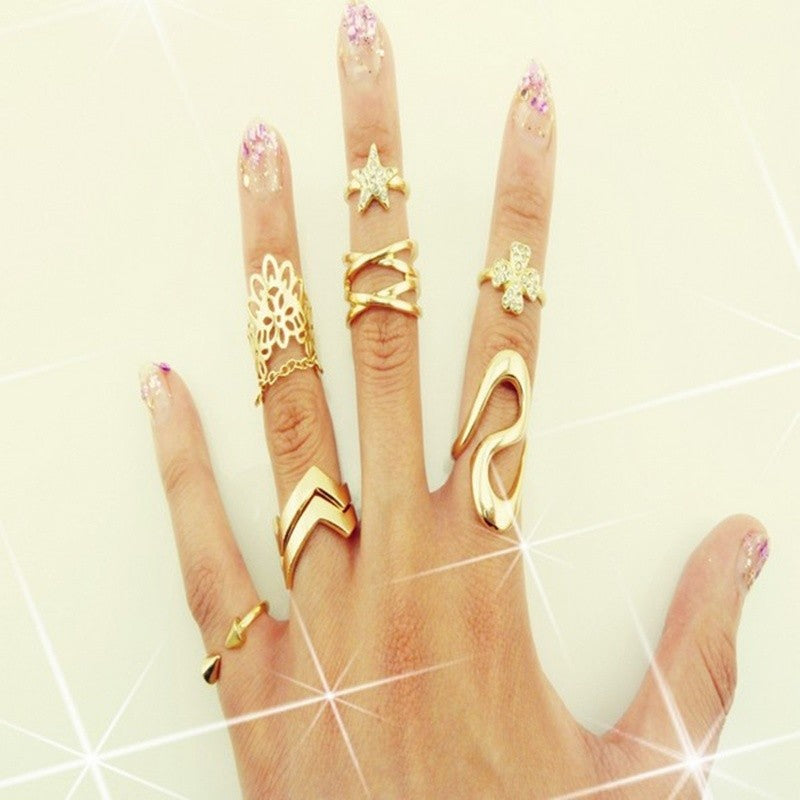 7PCS Womens Fashion Punk Gold Stack Above Knuckle Ring Band Midi Rings Set Gift
