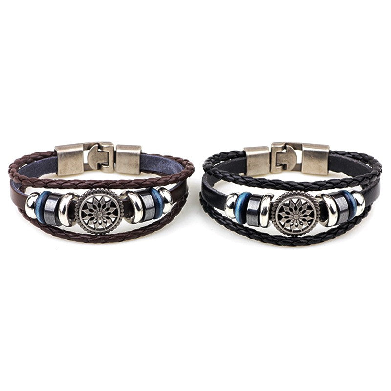 Women Men Punk Rivet Alloy Weave Rope Wristband Wrap Leather Bangle Bracelet
