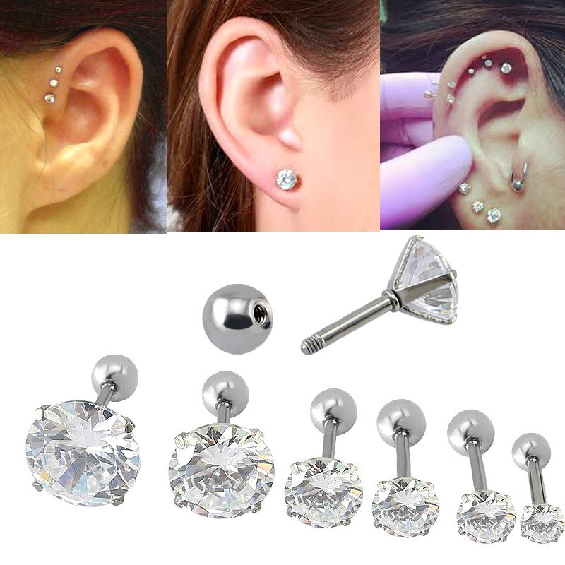 1pc CZ Prong Tragus Cartilage Piercing Stud Earring Ear Ring Stainless Steel