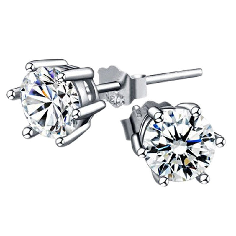 Fashion 925 Sterling Silver Pricess Cut Cubic Zirconia Stud Earrings 4mm 5mm 6mm 7mm