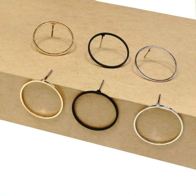 1 Pair Women Elegant Geometric Round Circle Ear Nail Earrings Jewelry