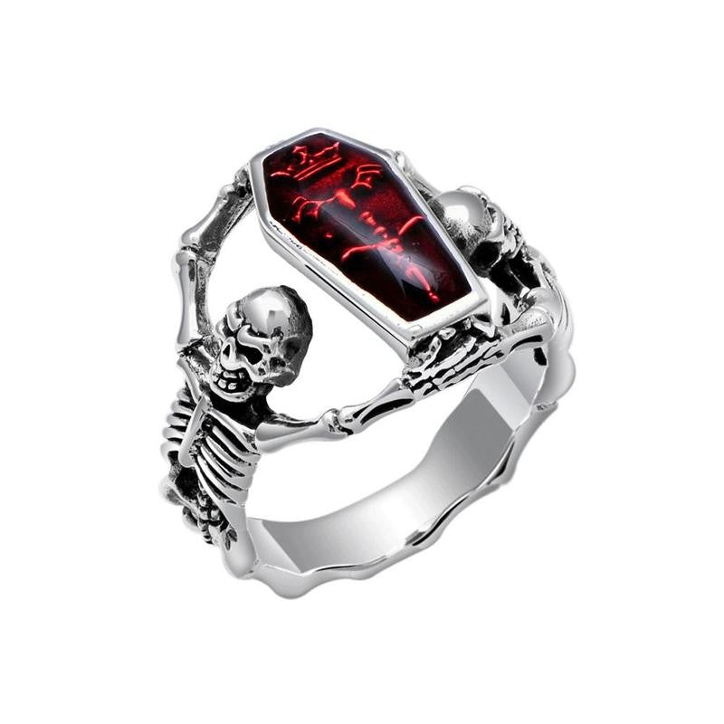 1pcs Red Coffin Undertaker Gothic Skull Skeleton Ring Mens Stainless Steel