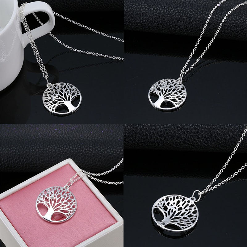2017 Women Fashion Charming Jewelry Crystal Silver Necklace Tree of Life Wishing Tree Pattern