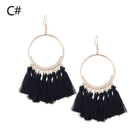 Ethnic Bohemian Style Gold Plated Long Tassel Drop Earrrings Red Rope Fringe Cotton Tassel Dangle Earrings Big Round Earrings Aretes Brincos Des Boucles #39;oreilles for Women Party Gifts Accessories