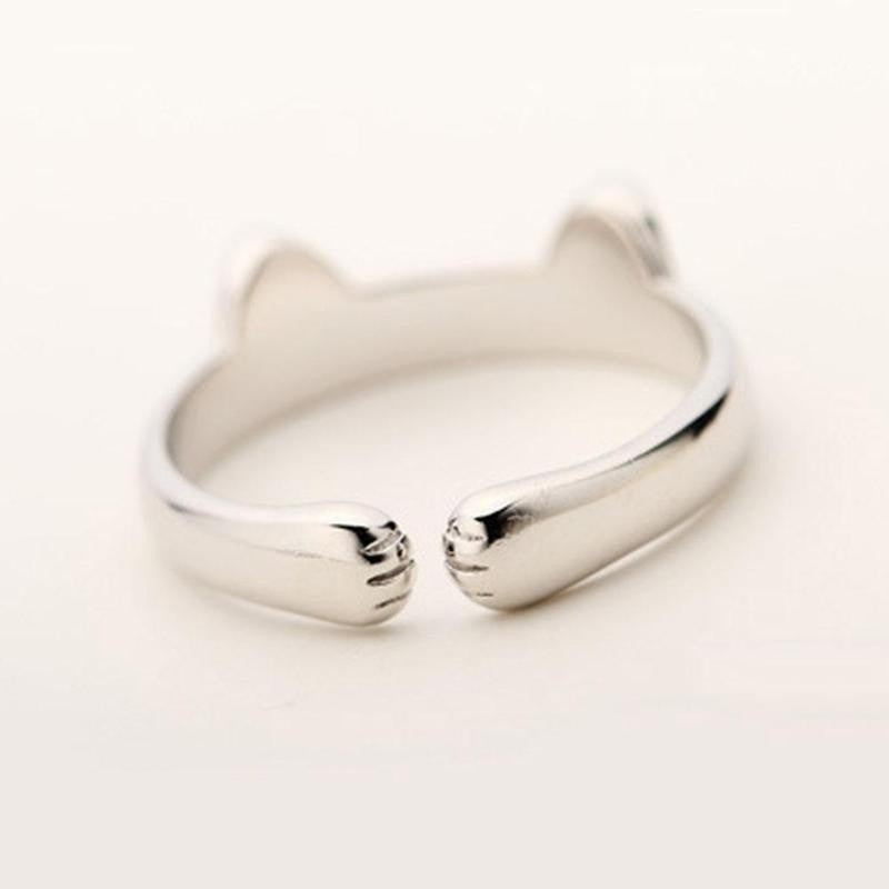 1Pcs New Womens Silver Open Rings Jewelry Hypoallergenic Cat Ears Ring