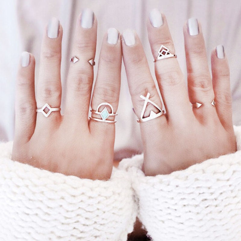 6 PCs NEW Ladies Diamante Ring Sets Simple Knuckle Ring Alloy Pinkie Ring Index Finger Ring Tail Ring Hand Accessories