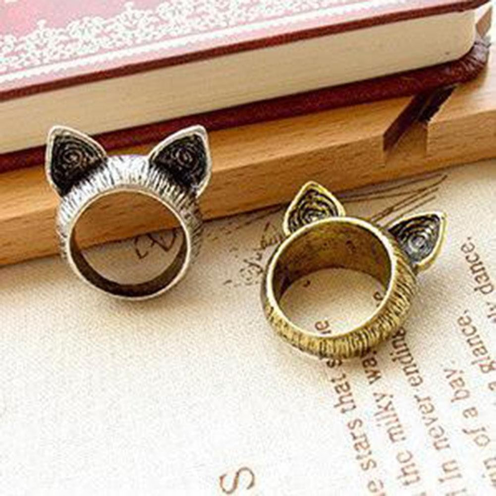 1Pcs Fashion Jewelry Unisex Vintage Retro Cute Cat Ears Finger Ring