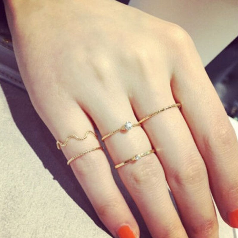 5Pcs Stack Crystal Cute Above Knuckle Band Midi Ring Set Gold/Silver