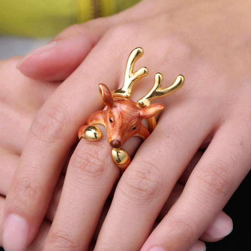 Christmas Moose rings ring set of three vintage animals Christmas gifts