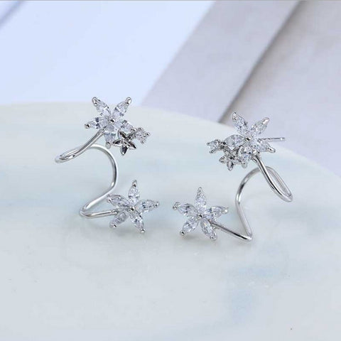 1Pairs Women Jewelry Bone Clips Crystal Flower Earrings Cuff Ear Stud Rhinestone