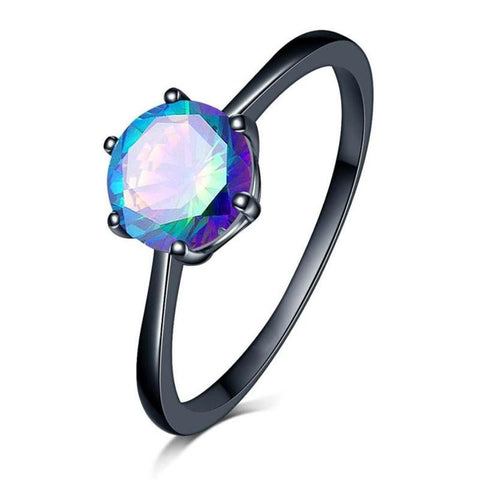 Charm Female Blue Fire Opal Heart Ring Elegant Purple Ring Black Gold Vintage Wedding Rings