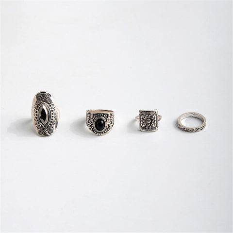 1 Set/4 Pcs Bohemian National Winds Retro Rings Set Carved Gemstone Combination Rings