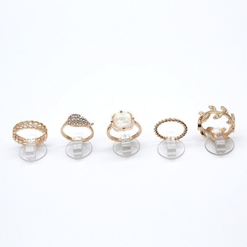 5pcs/set Fashion Gold Plated Leaf Rhinestone jewel Joint Knuckle MID Ring Set