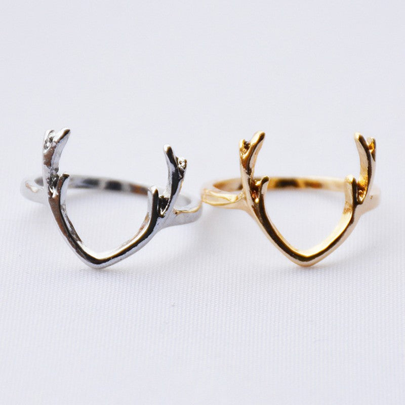 1Pc Simple Antler Shape Adjustable Ring Jewelry