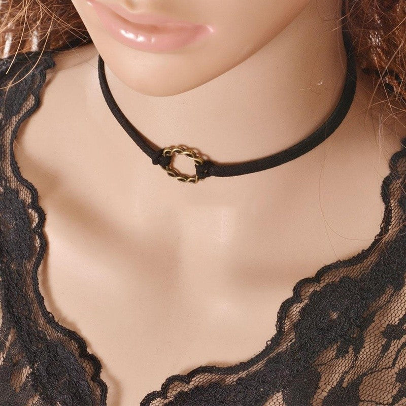 Black Velvet Charm Choker Necklace Gothic Punk Handmade Retro Jewelry