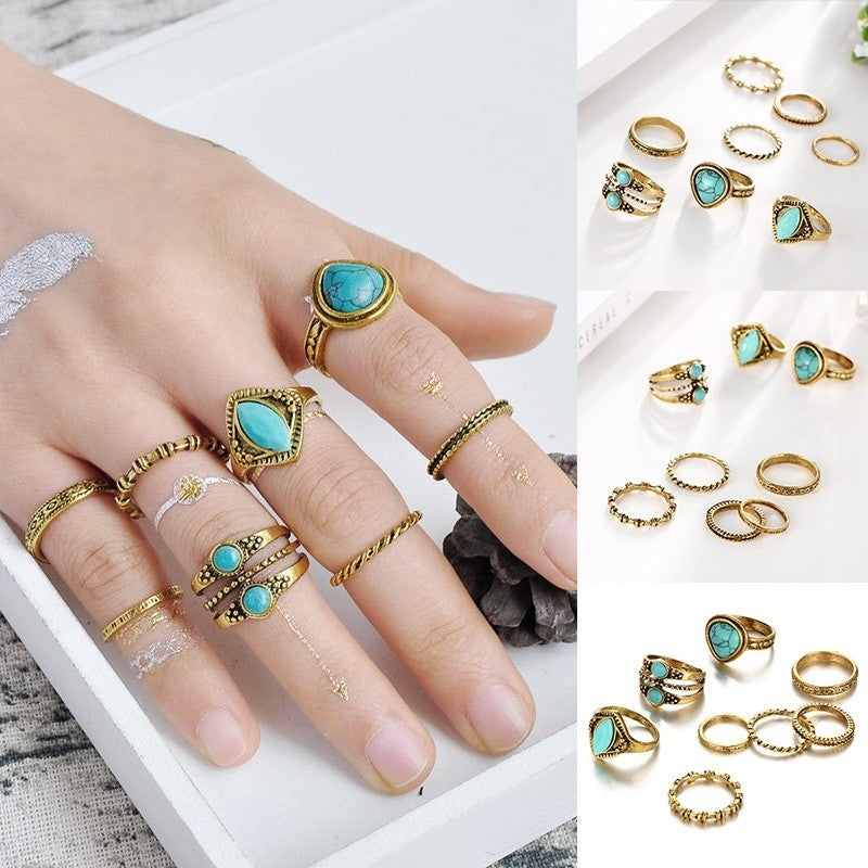 8Pcs Turquoise Ring Bohemian Antique Beach Midi Knuckle Rings Sets