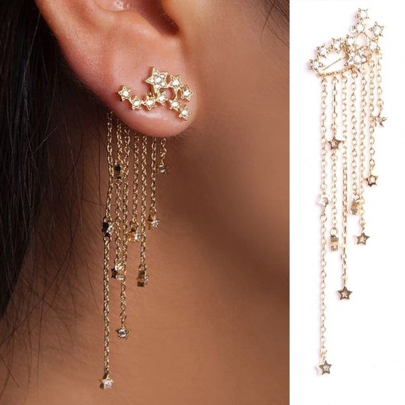 2018 Fashion Cubic Zircon Tassel Drop Earrings Lady Trendy Star Dangle Earrings Women Jewelry Gift