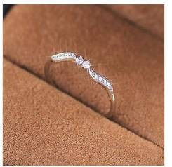 Exquisite Women Silver Willow Leaf Binary Star Diamonds Ring Wedding Engegament Party Rings