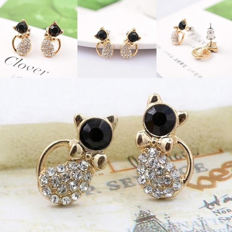 1*pair Ear Nails Nice Stud   Cute Bowknot Full of Cats Shaped Girls Gift