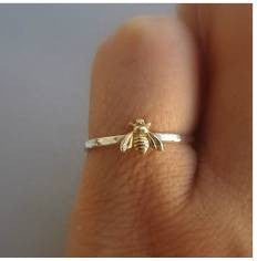 Simple Tiny 925 Solid Sterling Silver Bee Ring Gold Hammered Band Stacking Rings Wedding Anniversary Jewelry  (S925 STAMP)
