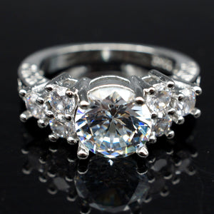 Lab diamond White Sapphire Wedding Ring 10KT White Gold Jewelry