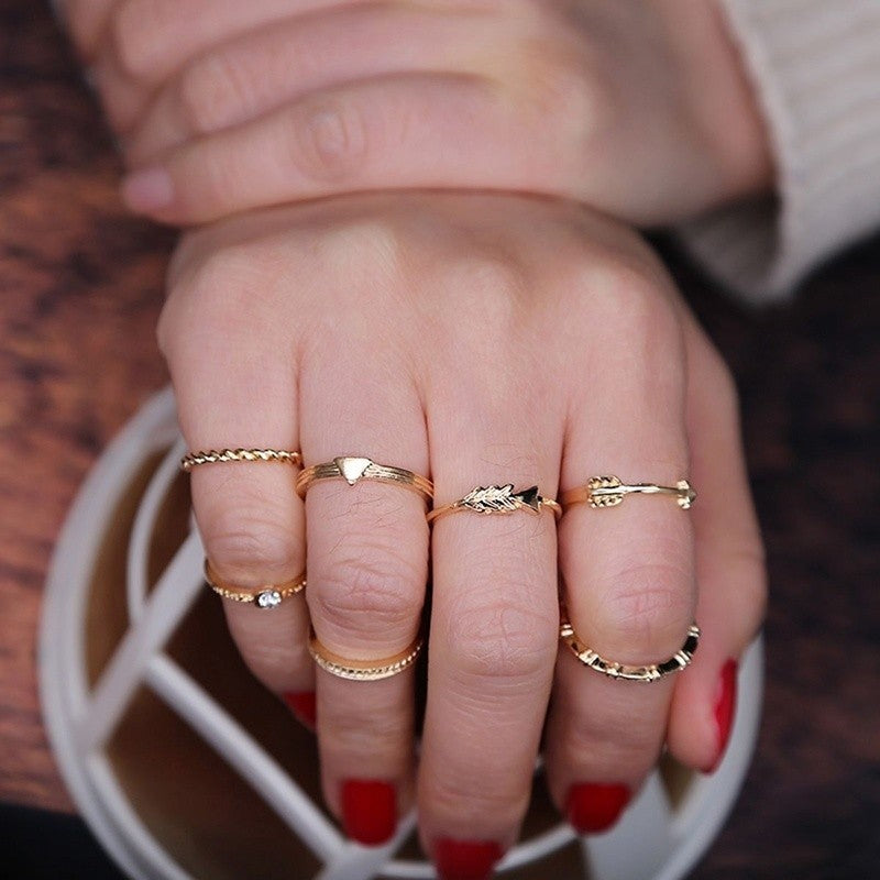 2018 New Fashion Multi element Arrow Multi Combination Seven piece Ring
