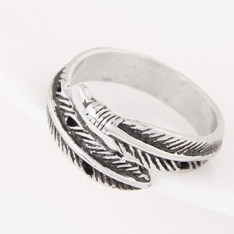 Antique Silver Adjustable Feather Rings Women's Open Plume Ring