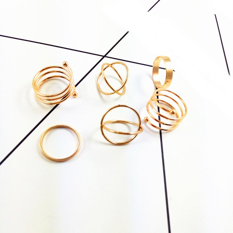 6pcs Fashion Women Lady Vintage Gold Plated Above Knuckle Ring Band Midi Ring