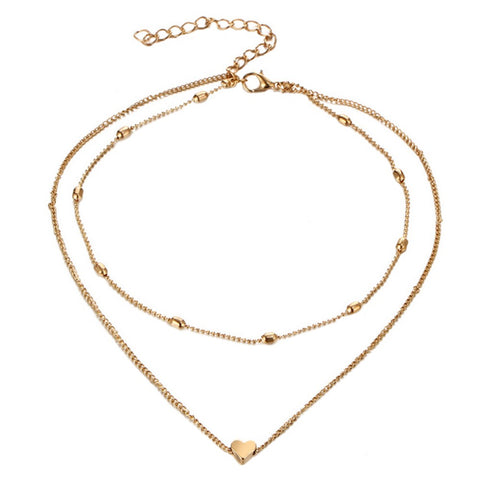 Fashion Double Layers Chain Heart Pendant Necklace Choker Women Jewelry